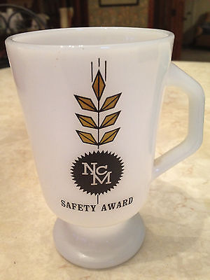 Vtg FIRE KING tall footed mug NCM safety award logo industrial Irish coffee cup Glass Flame Award
