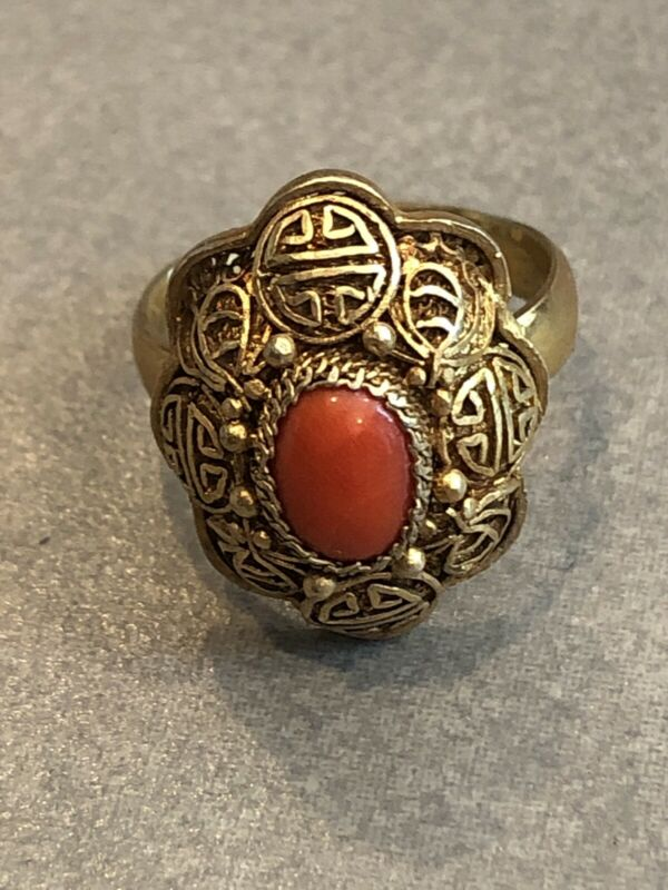 Vintage Chinese Amber Ring with Gold Accents