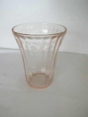 "RARE U.S. GLASS DEPRESSION PINK  4¼"" CHERRY BERRY 5oz. FLAT TUMBLER"