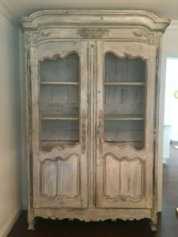18th Century Hand Carved Walnut French Armoire Original Milk Paint Finish