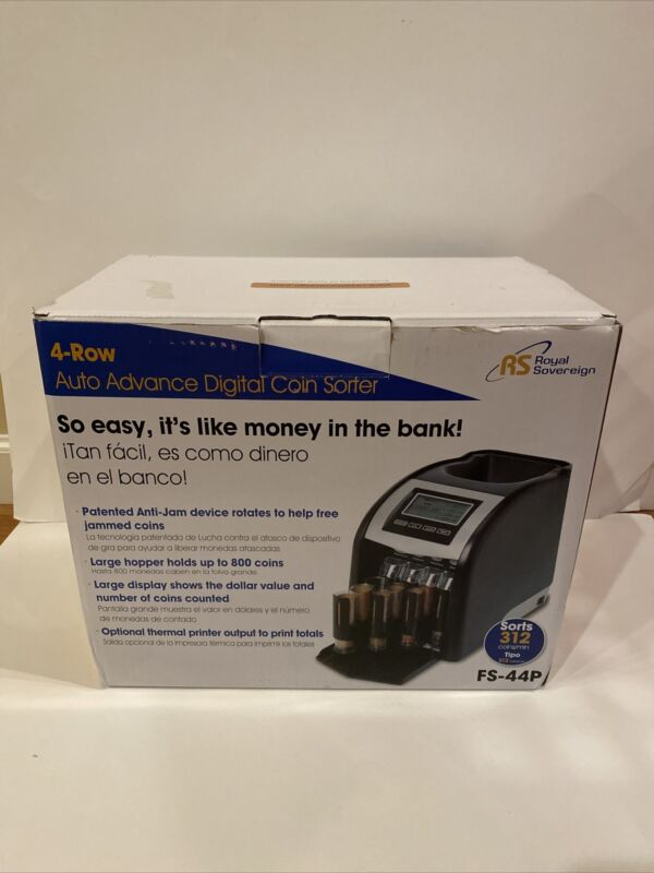 NEW Royal Sovereign 4 Row Electric Coin Counter With Anti-Jam Technology