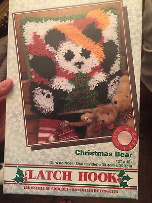 Caron WonderArt Latch Hook Kit Christmas Bear #4831 Canvas 12