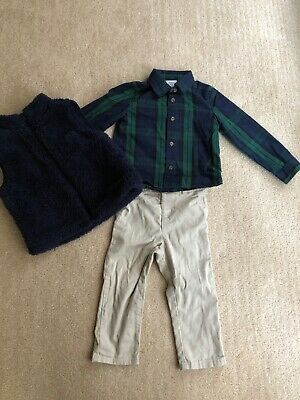 Baby Boy Size 24 Months Crown & Ivy Blue Green Plaid Shirt Best And Pant