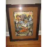 Vintage ORIGINAL Painting BLACK AMERICANA Signed '63 Farmers, Framed Under Glass