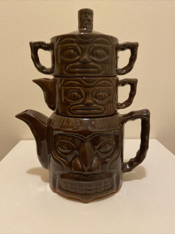 Rare Vintage Hawaii Kai Tiki Totem Tea Set NYC Pottery Luau Lounge Club