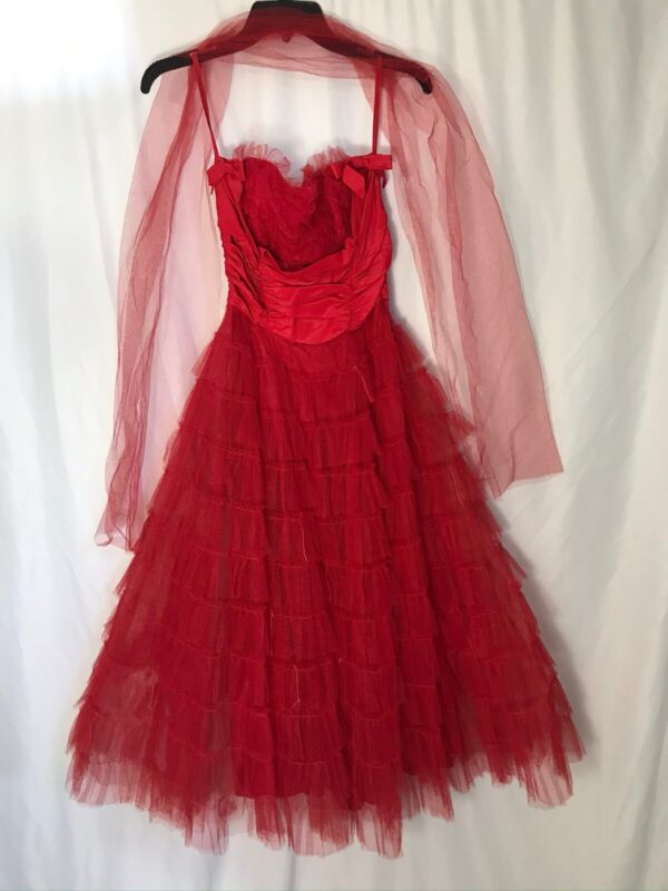 Vintage 50s Red Lace Tulle Party Dress Strapless Sweetheart Bodice Full Skirt S