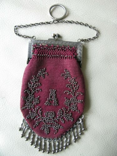 Antique G Silver Red Crochet Silver French Steel Micro Bead Fringe Purse W A
