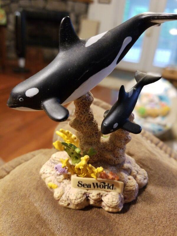 "Sea World Dolphin Figurine with Coral Seaweed..Plastic, 3.5"" Tall"