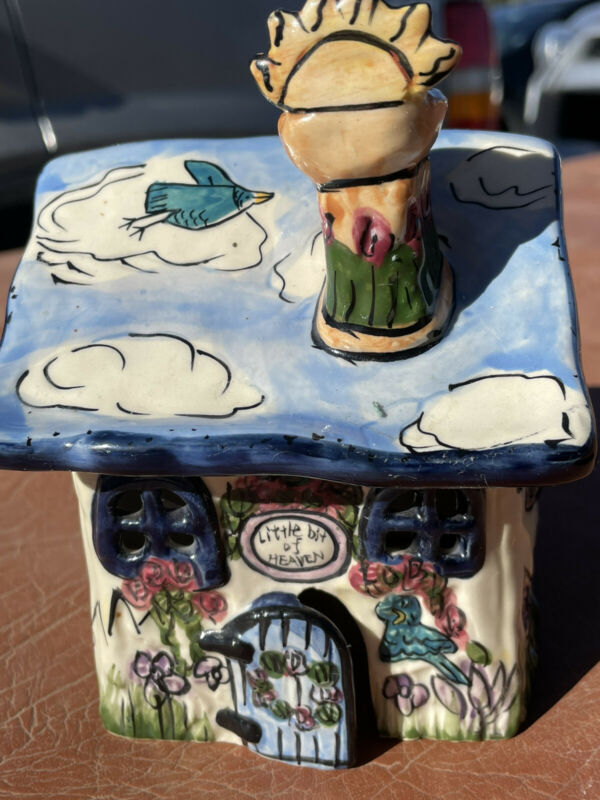 Blue Sky Clayworks Heather Goldminc Little Bit of Heaven Ceramic Tea Light House