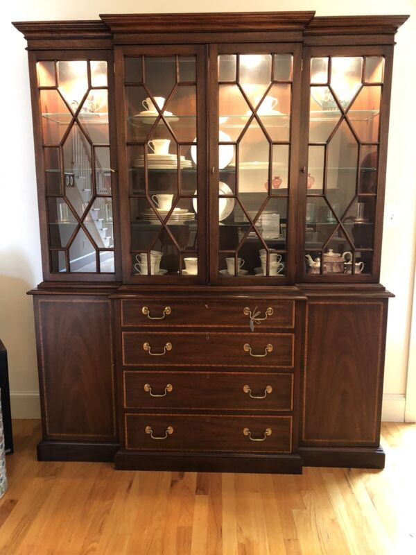 Henkel-Harris Virginia Galleries Solid Mahogany London Breakfront ~Free Ship