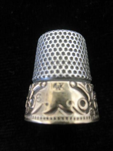 Ketchum & McDougal Sterling Silver Thinble with Wide Scrolled 14kt Band