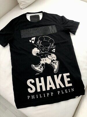 PHILIPP PLEIN MIKEY MOUSE SKULL Black Crystals T-Shirt Men's Size S Pre Owned