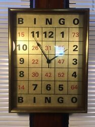 Vintage Wood Bingo Card Novelty Wall Clock Unique gift decor glass frame