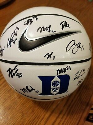2019-2020 Autographed Duke Blue Devils White Panel Basketball by entire team