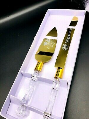 Wedding Cake Knife and Server Set, Cutting Set - Modern Gold Nuestra Boda