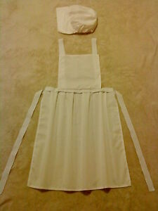 LADIES-APRON-COIF-HAT-fancy-dress-costume-LARP-VICTORIAN-WW1-WW2-NURSE-TUDOR