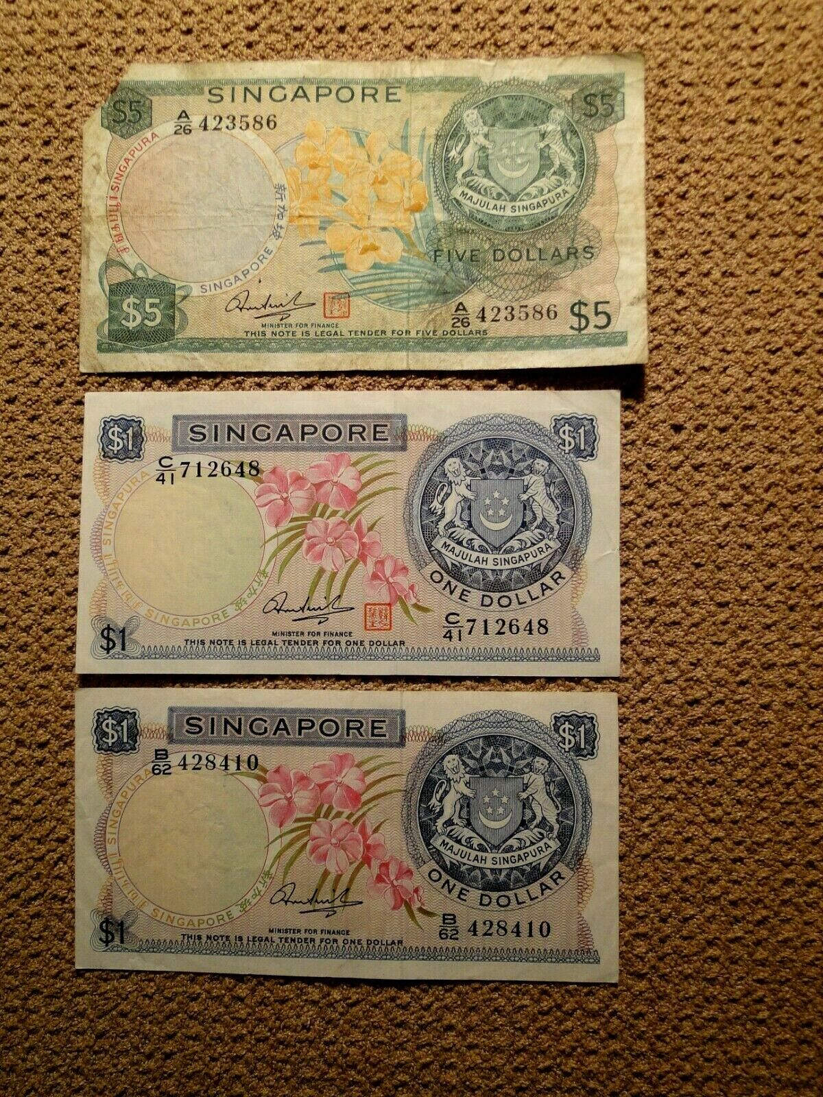 SINGAPORE 9 BANKNOTES ND 1967-1973 1,5 AND 10 DOLLARS - $90.00