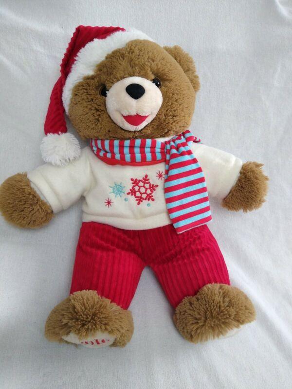 "2016 Christmas Teddy Bear. Plush Brown 18"", PERFECT Condition: Snowflake DanDee"