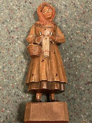 Swiss Black Forest Wood Carved Woman 18cm High