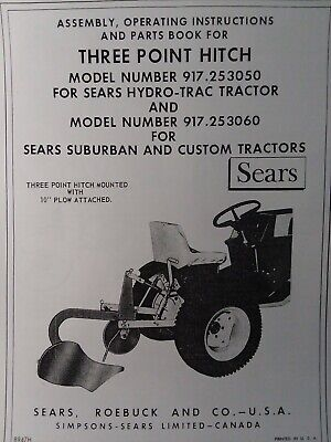 Sears 3-point Hitch Disc Harrow Implement Garden Tractor Owner Parts Manuals