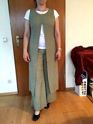 Zweiteiler Hose lange Tunika Cocktail Feier Anzug Kostüm Leinen Gr. 38 grün ()