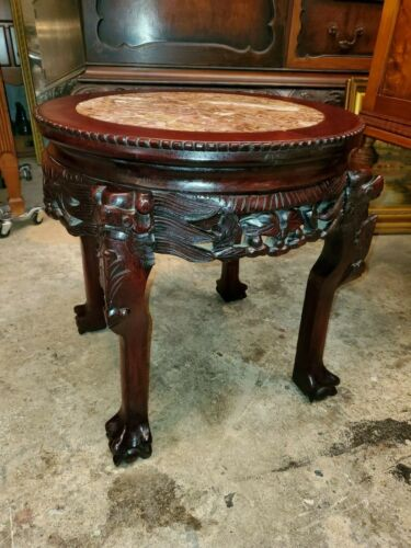 Antique Carved Rose Wood w/ Marble Top Plant Stand - Very well made