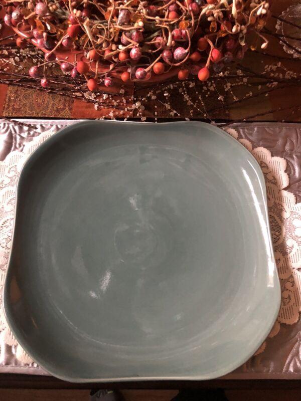 "Russel Wright Oneida Manitoga Blue 13"" Square Stoneware Serving Platter"