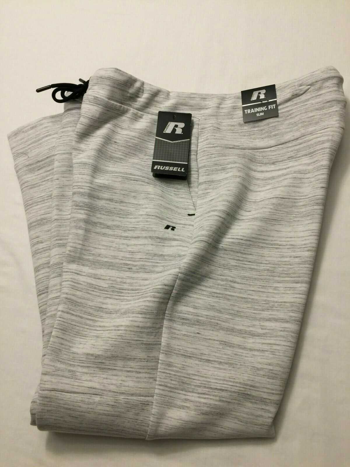 NWT Russell Men's Fusion Knit Jogger Pant Gray & White Large