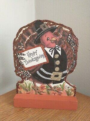 Vtg Image~~Happy Thanksgiving Turkey Table Decoration~~ Glitter ~ Wood