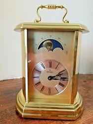 Vintage Montreux Moon Phase Mantle Clock Hermle Quartz Ford Emblem