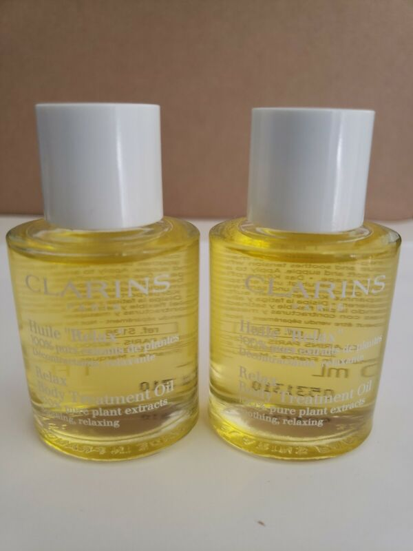 2-PACK CLARINS Relax Body Oil Treatment 100% Pure Plant Soothing 1 oz each NWOB