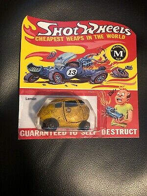 "HOT WHEELS RED LINE SHOT WHEELS ""Lemlin "" Wacky Packs FANTASY VEHICLE ON CARD"