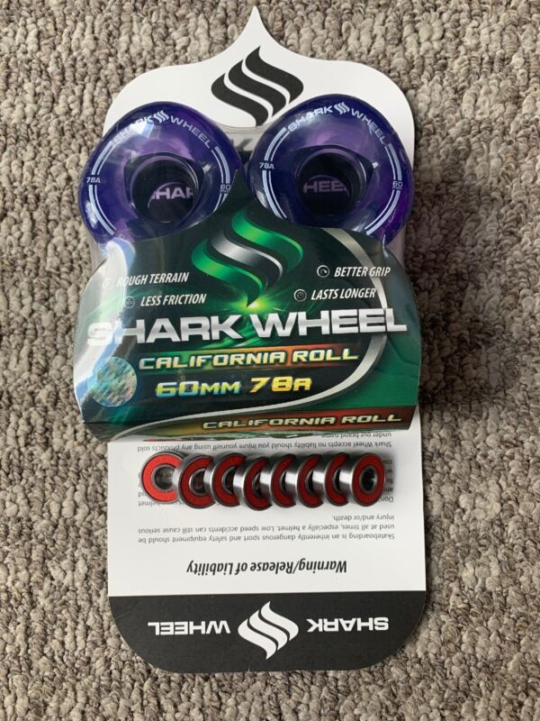 Shark Wheels Longboard Sidewinder Tech 60mm 78a Clear Purple Free Bearings New!