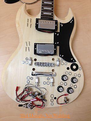 4/4 E-240DIY SG Style Electric Guitar DIY Kits,Set Neck,Complete No-Soldering