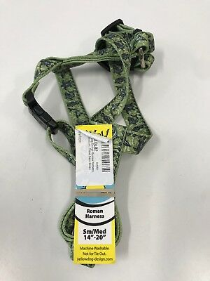 "Roman Harness Small/Medium 14""-20"" by Yellow Dog Design Green/Fish pattern"