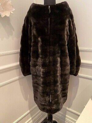J. MENDEL Black Mink Fur Zip-Front  3/4 Length Coat Jacket - Size 10 Medium