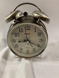 Elgin Twin Bell Analog Alarm Clock, Battery Powered, Silver