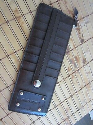 Nino Bossi Brown Genuine Leather Business Card Holder Case Wallet New