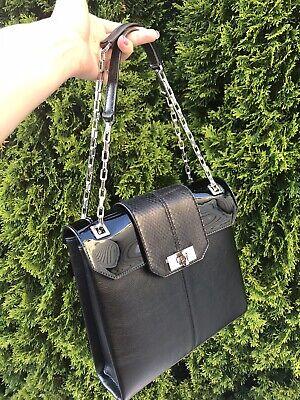 Authentic Cartier Classic Bag Chain Black Calf Leather