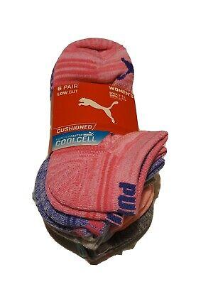 Puma Socks women's 6 pairs BRIGHT PINK  Low Cut size 9- 11 shoe sz 5- 9.5