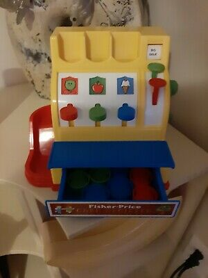 Vintage Fisher Price Cash Register #926 Working Bell Includes All 9 Coins