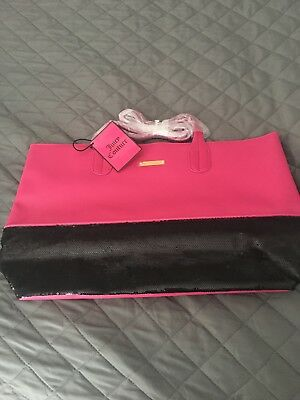(WOMENS JUICY COUTURE NWT TOTE BAG PURSE LARGE FAUX LEATHER PINK BLACK BLING )