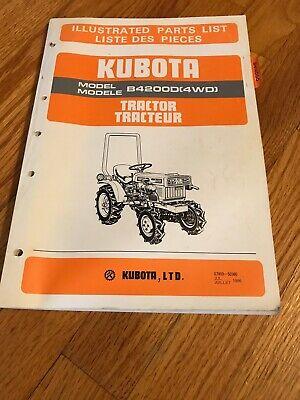 Genuine Original Kubota B4200d Tractor Parts Book Catalog Manual