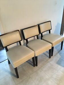 Cream Colour solid wood faux leather chairs