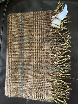 JOHNSTONS OF ELGIN 100% natural CAMEL HAIR  CLASSIC FRINGED SCARF SCOTLAND
