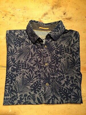 Ted Baker Size 3 Grey/Blue Palm Print Slim Fit Shirt