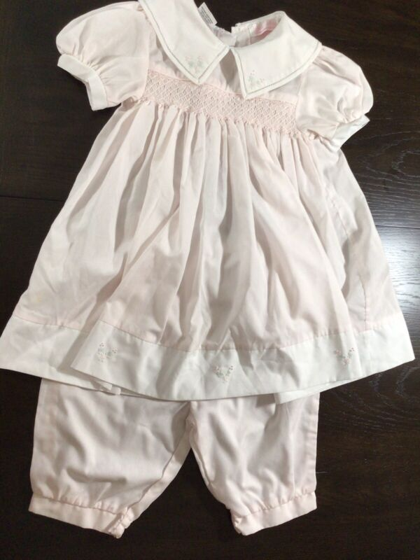 24 Mo Petit Ami Pink Smocked Dress & Pantaloons Short Sleeve Embroidered Flowers