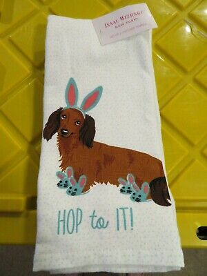 Isaac Mizrahi New York Set of 2 Easter Long Haired Dachshund Bunny Kitchen Towel