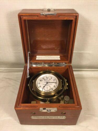 Vintage 1940s Hamilton Model 22 Chronometer Inner & Outer Cases & Movement