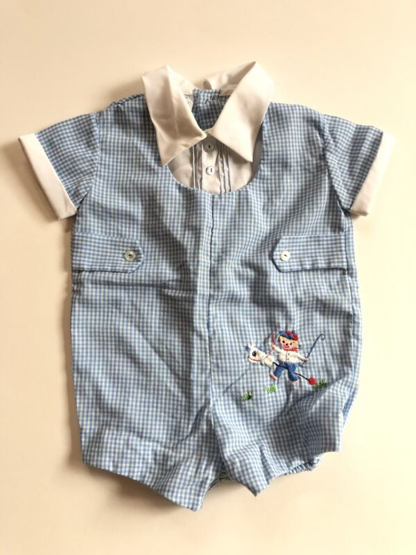 Vintage Baby Boy Romper Shortall Sunsuit Blue Gingham Size 3-6 Months